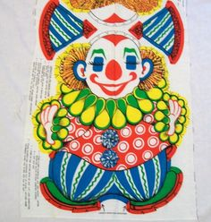 Vintage Clown Pillow Cut Sew and Stuff  by VintagePlusCrafts