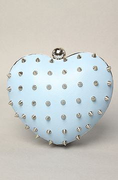 Mata Hari Women's The M E Heart II Studded Clutch Purse in Mint