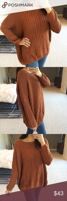 "Oversized chunky knit sweater New! Rust oversized chunky knit sweater with a long high low hem and drop shoulders. Seriously soft cotton/acrylic blend, hand wash. I'm 5'5"" size 2 modeling a S/M. No trades. Price is firm, no offers. Sweaters Crew & Scoop Necks"