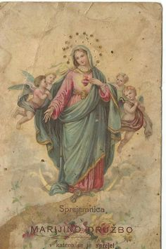 Blessed Mother Mary, Blessed Virgin Mary, Catholic Art, Religious Art, Hail Holy Queen, Jesus E Maria, Roman Church, Etiquette Vintage, Vintage Holy Cards