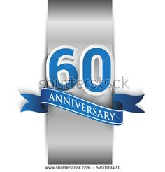 60th anniversary logo with silver label and blue ribbon, Vector design template elements for your birthday party.