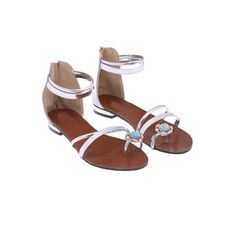 Silver With Rhinestone Zipper Flat Sandals ($25) via Polyvore