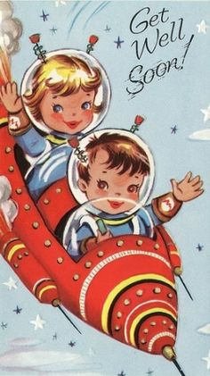 Retro Space Kids Get Well Card.