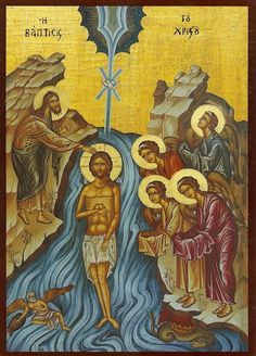 Eastern orthodox icon of the Baptism of our Lord (Theophany, also Epiphany). Commemorated January This icon is about the Feast that reveals the Holy Trinity to the Byzantine Icons, Byzantine Art, Religious Icons, Religious Art, Baptism Of Christ, Paint Icon, Religion Catolica, Life Of Christ, Christian Art