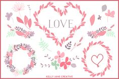 Valentine Wreaths & Flowers Vector by Kelly Jane Creative on Creative Market