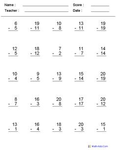 Zero to Twenty Subtraction Worksheets