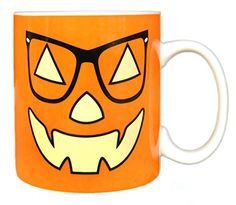 MAUAG Funny Coffee Mug  Unique Christmas Gifts  Vintage JackOLantern With Glasses Pumpkin Face Ceramic Cup Orange Best Office  Birthday  Party Gag Gift 14Oz by LaTazas