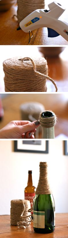 Twine-Wrapped Wine Bottle perfect for beautiful flowers and decoration for your room. Yes I'm in love (: