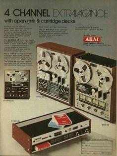 Vintage audio AKAI ad - quadrophonic tape decks (open-reel and 8-track cartridge )