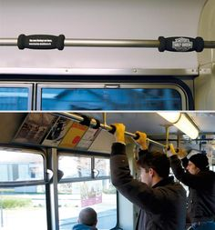 """""""Motorbike handles were mounted in busses and tramways of public transport to announce the arrival of new Harley models."""" (Advertising Agency: Wirz Werbung/BBDO, Zurich, Switzerland)    Amnesty International: Hangin"""