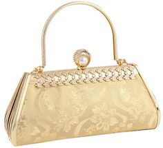 Tina Women's Embossed Diamond Studded Crystal Beaded Evening Clutch Handbag Gold. Flower printing. Diamond studded. Metal handle. Sparkling for you on evening parties!. Beautiful and elegant clutch bag with simple design. It is great for storing your cell phone, credit cards, money, keys and so on. Items are measured by hand, there will be a slight deviation. Hope you understand. As different computers display colors differently, the color of the actual item may vary slightly from the…