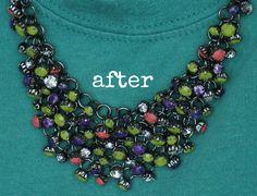 DIY neon rhinestone necklace. Paint old rhinestone necklace with nail polish!