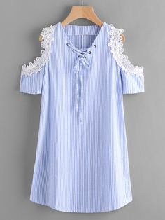 To find out about the Contrast Lace Open Shoulder Vertical Striped Dress at SHEIN, part of our latest Dresses ready to shop online today! Modest Dresses, Casual Dresses, Short Dresses, Summer Dresses, Frock Fashion, Fashion Dresses, Boy Fashion, Kids Dress Collection, Vertical Striped Dress