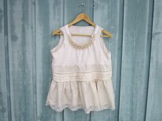 Eco Shabby Chic Upcycled Sleeveless Top // Beaded Tea Stained Tank Top with Ruffles and Lace via emmevielle