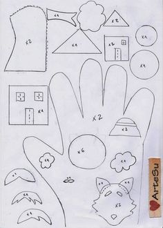 Arte De Fazer | Decoração e Artesanato: Dedoches | Luva dos três porquinhos