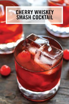 This Cherry Whiskey Smash recipe sure packs a punch when it comes to fruity flavor! Grab the booze, amaretto, ginger brandy, cherry cola, and maraschino cherries, to start creating this delicious cocktail for your friends.