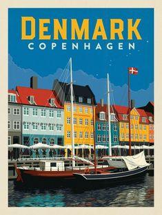 Anderson Design Group - Anderson Design Group – World Travel – Denmark: Copenhagen - Vintage Travel Posters, Vintage Postcards, Copenhagen Travel, Copenhagen Denmark, Travel Illustration, Travel Maps, Poster Prints, Minion Birthday, 16th Birthday