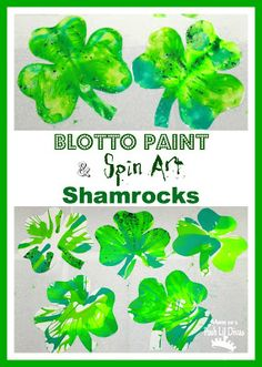 Easy Shamrock Art for Kids - Blotto Painting & Spin Art. Lots of easy fun for St. Patrick's Day.