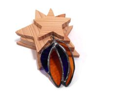 Stained Glass Pendant Jewelry  Amber and Blue Shards  by coalchild, $25.00