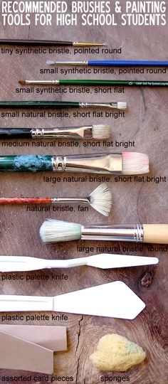Types of brushes recommended for high school Art / Painting students