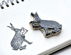 miss red fox - Stamp carving with Speedball - black rabbit with mail envelope - Testing different carving blocks /// Stempelschnitzen - Hase mit Umschlag - Test diverser Stempelmaterialien