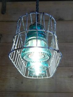 Wire Basket Milk Crate Glass Insulator Pendant Light Fixture Primitive Rustic | eBay