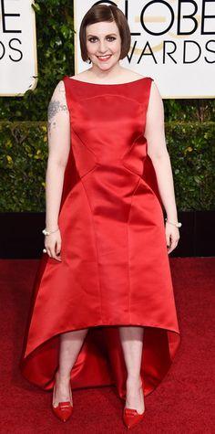 Golden Globes 2015: Red Carpet Arrivals - Lena Dunham in Zac Posen ~ #InStyle   #GoldenGlobes2015