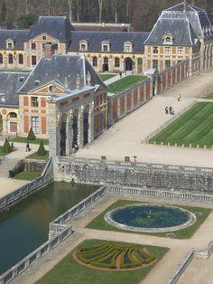 Vaux-le-Vicomte Castle, designed by the Architect Louis Le Vau in 1661.  It inspired Louis XIV to build the Palace of Versailles, Paris