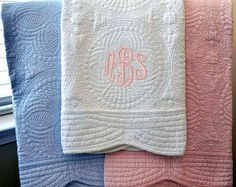 Monogrammed Baby Quilt Blanket Crib Nursery by ShopModernMonograms
