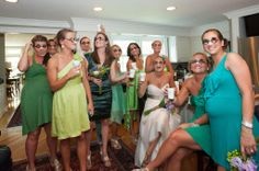 Fun pictures with the bridesmaids while getting ready!