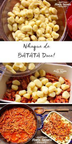 Nhoque de Batata Doce, contém carboidratos essenciais derivado da batata doce, importantes para os músculos, juntando o útil ao agradável!