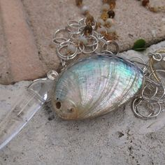 Handmade Gemstone Necklace Abalone Quartz by GypsiesBitsNBaubles