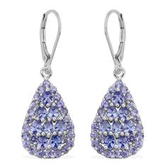 Tanzanite Lever Back Earrings in Platinum Overlay Sterling Silver (Nickel Free) | Liquidation Channel
