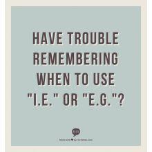 Get Grammar Girl's take on i.e. versus e.g. Learn what i.e. and e.g. are Latin for and how to use them correctly.