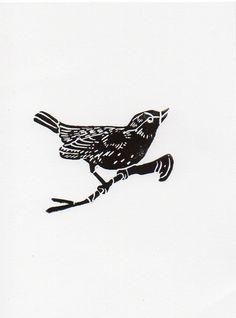 Bird linocut print