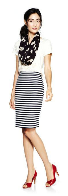 """Sole Society """"Shop the Look"""". J. Crew shirt and skirt."""
