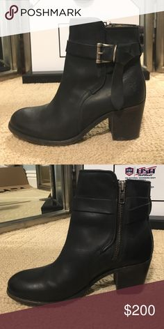 Black Leather Frye Booties Like new condition, have been worn a few times Frye Shoes Ankle Boots & Booties