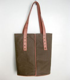 Khaki Brown Tote Bag Waxed Canvas Recycled Pink Leather Strap