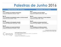 Calendário de Palestras do mês de JUNHO do CEAP – Centro Espírita Antônio de Pádua - Niterói  - RJ - http://www.agendaespiritabrasil.com.br/2016/06/02/calendario-de-palestras-do-mes-de-junho-do-ceap-centro-espirita-antonio-de-padua-niteroi-rj/