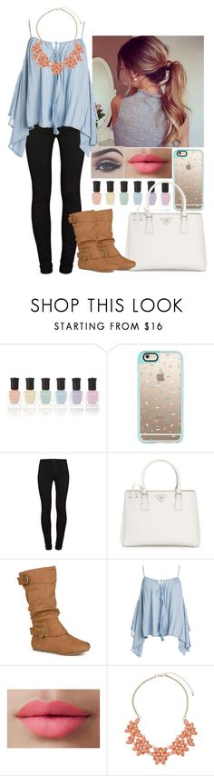 """""""Spring Break"""" by coconutgotchaday ❤ liked on Polyvore featuring Deborah Lippmann, Casetify, J Brand, Prada, Journee Collection, Sans Souci, LORAC, Bellezza and Dorothy Perkins"""