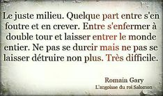 Romain Gary Citation, Positive Mind, Positive Vibes, Great Sentences, Quotes To Live By, Love Quotes, French Quotes, More Than Words, Story Of My Life