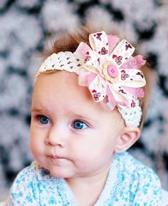 How cute is she........baby hair bow cream and mauve hair bow ribbon by SallyAnnaSunshine, $7.99