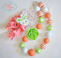 Easter Chunky Necklace and Toddler Headband Set, Bunny, Large Rose Bead, Coral, White and Green Shabby flower headband, Bunny, baby heaband on Etsy, $21.00
