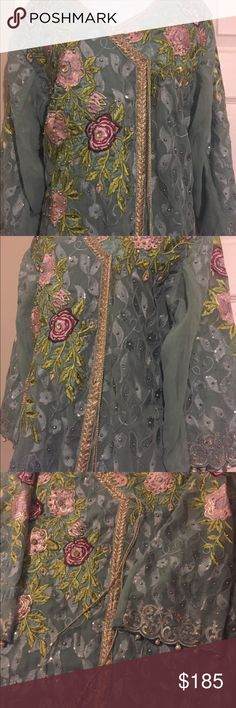 1b3c7f09b2 Indian pAkistani women salwar kameez Stitched ready to wear chiffon  embroidered salwar kameez with net duppatta. Poshmark