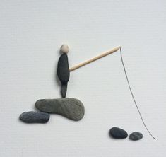 Pebble Art -Gone Fishing - Pebble Art Pictures - www.pebbleartpictures.co.uk