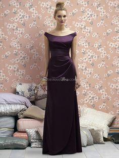 off the shoulder floor length renaissance eggplant bridesmaid dress