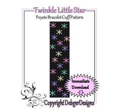 Twinkle Little Star  Beaded Peyote Bracelet by FUNPATTERNDESIGNS, $4.50