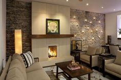 You can make your accent wall a completely different texture to the rest of the walls in the space. For instance, with a wood or stone wall that adds a rustic and trendy feeling to the room. Small Basement