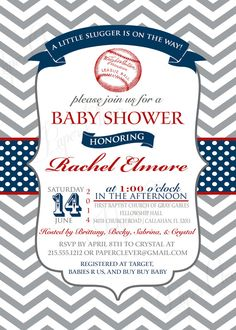 Baseball baby shower invitations red & navy gray by paperclever