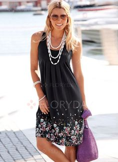 Dresses - $40.99 - Polyester Solid Sleeveless Knee-Length Casual Dresses (1955138442)